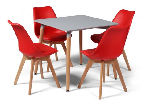 Toulouse Dining Set  - 80cms Square Grey Table & 4 Red Chairs